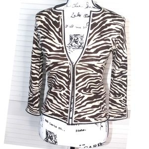J.Crew 100% Wool Zebra Print Cardigan